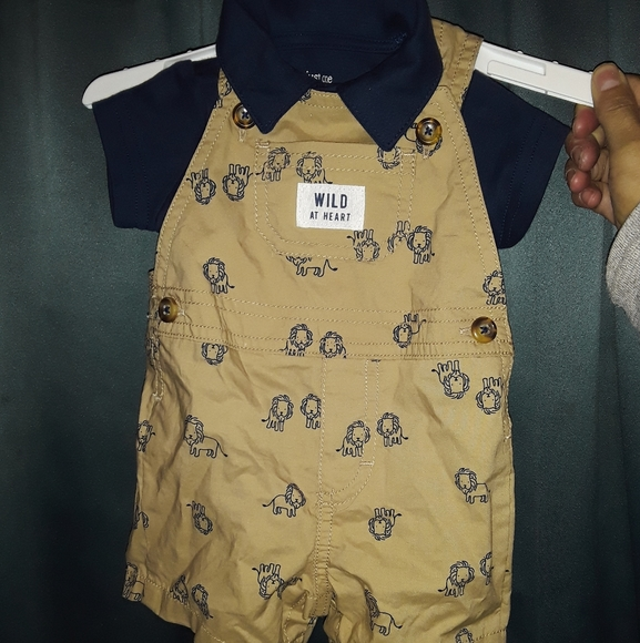 NB 3M Carter/'s Baby Boys 2 Piece Lions Khaki Overalls /& Stripe Shirt Outfit Set
